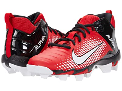 Nike Kids Alpha Menace 2 Shark Football (Toddler/Little Kid/Big Kid) (University Red/White/Black) Kids Shoes