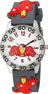 MARVEL Boys' Iron Man Analog-Quartz Watch with Plastic Strap, Grey, 16 (Model: WMA000037