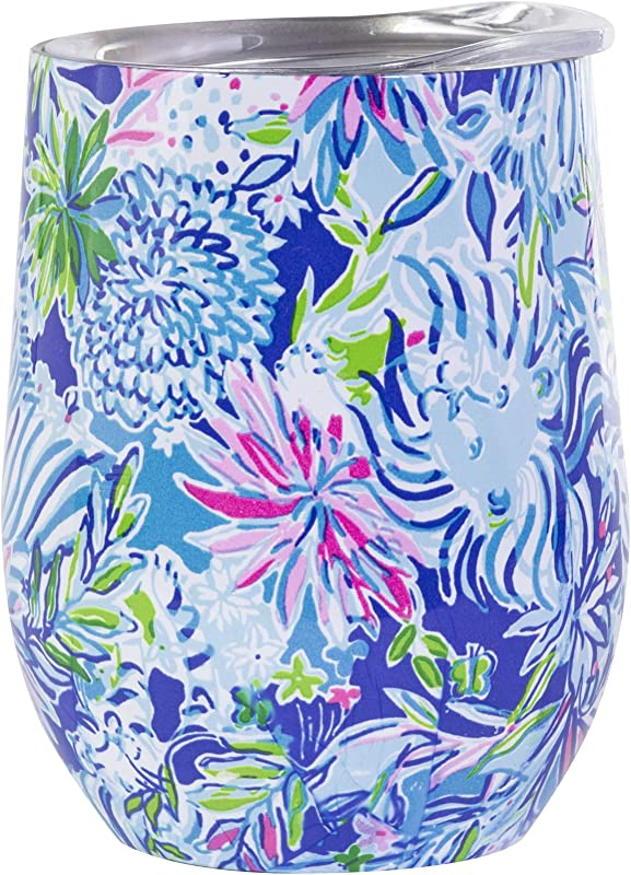 Lilly Pulitzer Stainless Steel Wine Glass Tumbler With Lid Holds 12 Ounces Lion Around