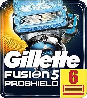 Gillette Fusion 5 ProShield Chill ostrza do golenia z ostrzem do trymera dla precyzji i powłoki ślizgowej, 6 zapasowych os...