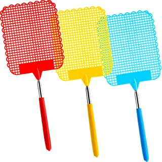 Tatuo 3 Pieces Large Extendable Fly Swatter, Manual Swat Pest Control with Strong Flexible Durable Telescopic Handle, Lightweight (Multicolor A)