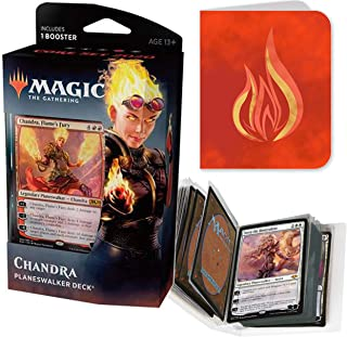 Totem World Core Set 2020 Chandra Planeswalker Deck of Magic The Gathering With Red Totem Mountain Mana Symbol Mini Binder Collectors Album - One Deck for M20 Lot Bundle