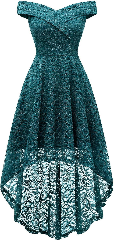 Homrain Women's Wedding Formal Casual Dresses Off Shoulder Vintage Floral Lace Hi-Lo Bridesmaid Dress