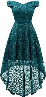 Homrain Vestido Cóctel Vintage Dama de Honor A-línea Elegante Encaje Fiesta Noche Vestido para Mujer