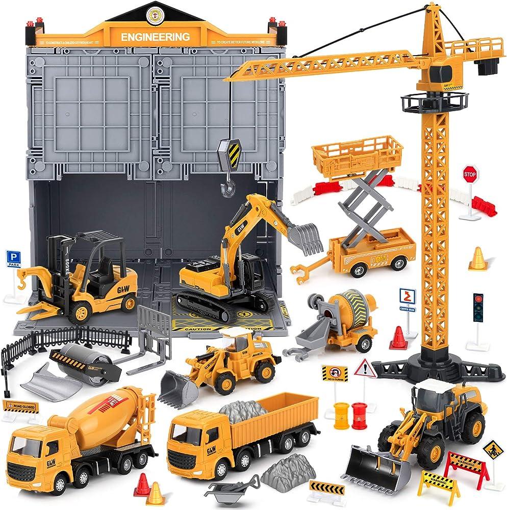 Set di gioco per tutti i veicoli da costruzione,giocattoli in metallo pressofuso