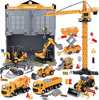 Construction Truck Toys with Crane for 2 4 5 6 Years Old Boys, 81pcs Kids Alloy Engineering Vehicle Sets, Tractor Trailer ...