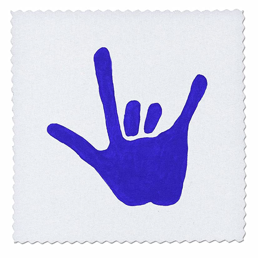 3dRose qs_13584_2 Love Sign Language Blue Quilt Square, 6 by 6-Inch