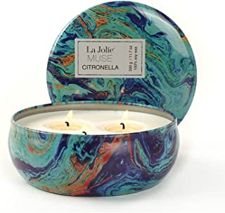 LA JOLIE MUSE Citronella Candle Scented Soy Wax 3 Wick Tin, 26 Hour Burn, Outdoor and Indoor