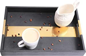 Modern Black Decorative Coffee Tray - usable for home table centerpiece tray, Kitchen counter decor, living room table and Coffee, tea, wine, whiskey, cocktail serving trays EASY TO CLEAN. By XOplus