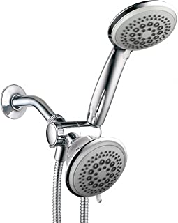 DreamSpa 36-setting 3-way Shower Head – Removable Shower Wand and Fixed Shower Combination – 5-foot Flexible Steel Hose, Tool-Free Installation, Gray Face, Chrome Finish