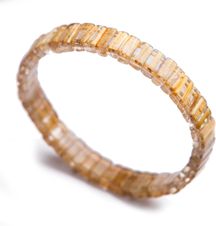 Genuine Natural Gold Rutilated Quartz Gemstone Rectangle Bead Crystal Bangle Bracelet