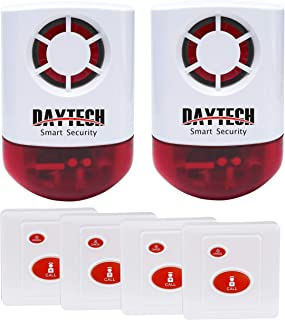 Daytech Wireless Strobe Siren Alarm Home Caring Loud Outdoor SOS Alert System 2 Red Flashing Siren and 4 Emergency Button ...