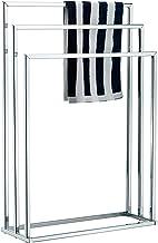 Toallero independiente MyGift, Soporte de barra de toalla de metal de 3 niveles, Tono plateado