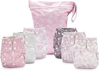 Simple Being Pañales de tela reutilizables, doble refuerzo, paquete de 6 bolsillos, tamaño ajustable, funda impermeable, 6...
