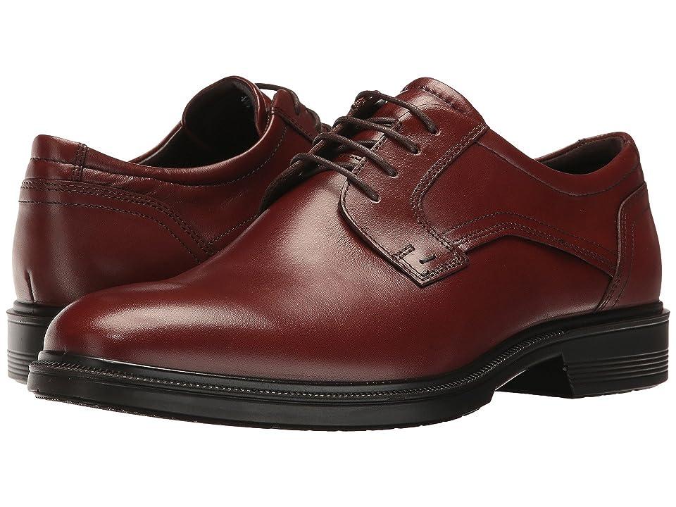 ECCO Lisbon Plain Toe Tie (Cognac) Men