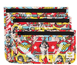 Bumkins DC Comics Wonder Woman TSA Approved Toiletry Bag, Travel Bag, PVC-Free, Vinyl-Free, Clear Front, Set of 3