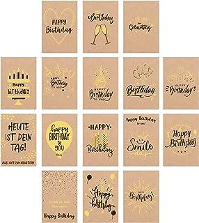 Edition Seidel Zestaw 16 ekskluzywnych kartek urodzinowych premium wydrukowanych na papierze typu kraft Kartka z życzeniam...