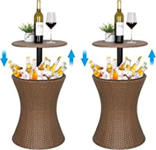 ZENY Cool Bar Rattan Style Patio Pool Cooler Table W/Height Adjustable Top Outdoor Wicker Ice Bucket Cocktail Coffee Table...