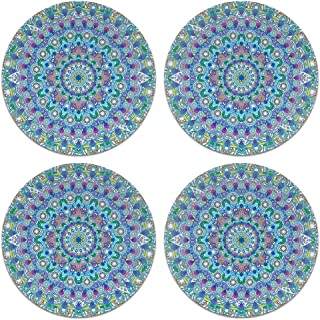 CARIBOU Coasters, Bohemian Blue Teal Mandala Design Absorbent Round Fabric Felt Neoprene Coasters for Drinks, 4pcs Set