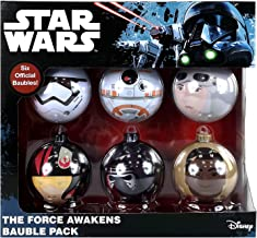 Bolas de árbol de Navidad oficiales de Star Wars, Marvel y DC Comics, 6 unidades Star Wars - El despertar de la Fuerza