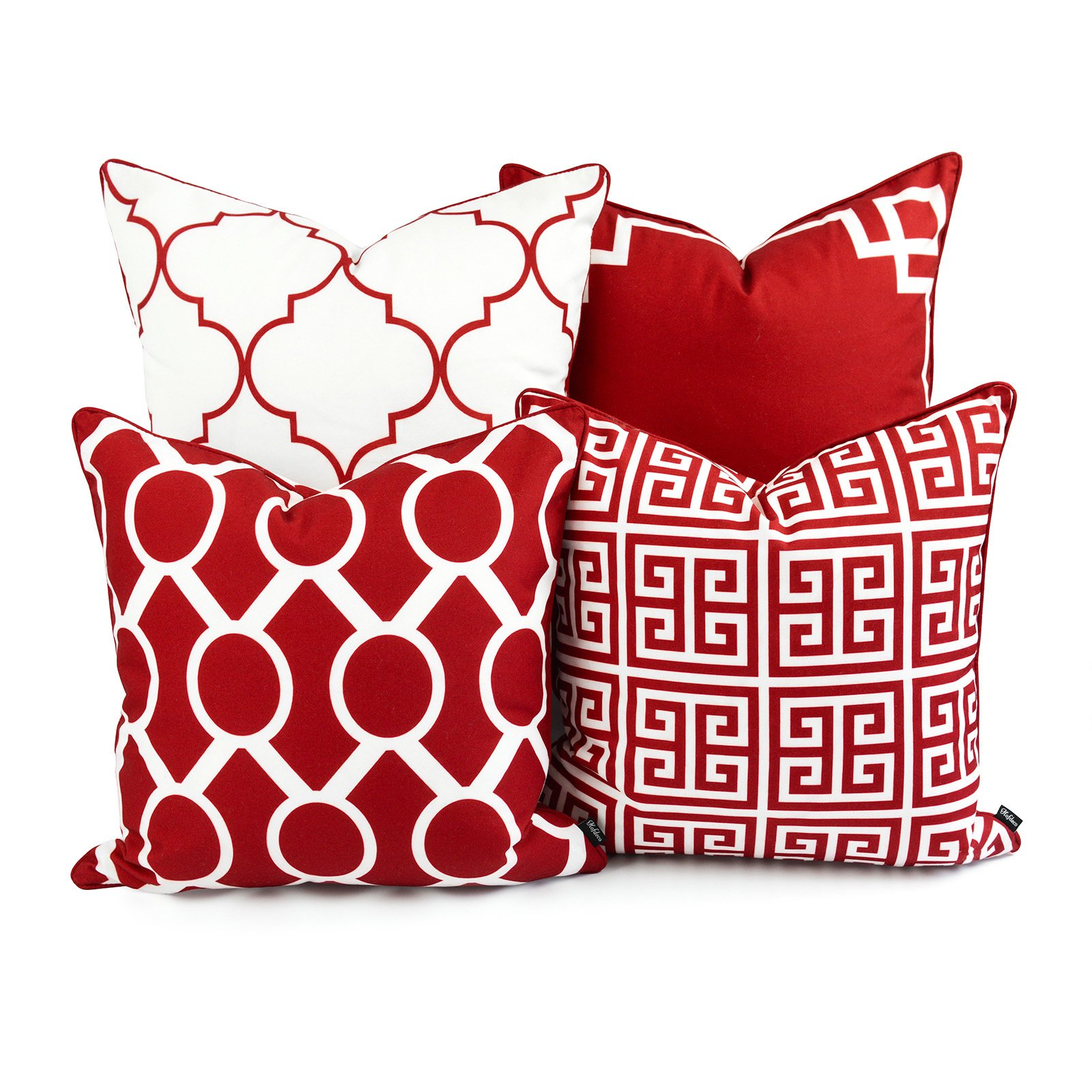 Amazon Com Hofdeco Valentine Indoor Outdoor Pillow Cover Only Water Resistant For Patio Lounge Sofa Red White Greek Key Moroccan Chain 18 X18 20 X20 Set Of 4 Home Kitchen