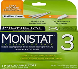 Monistat 3-Day Yeast Infection Treatment   Prefilled Applicators + Itch Cream