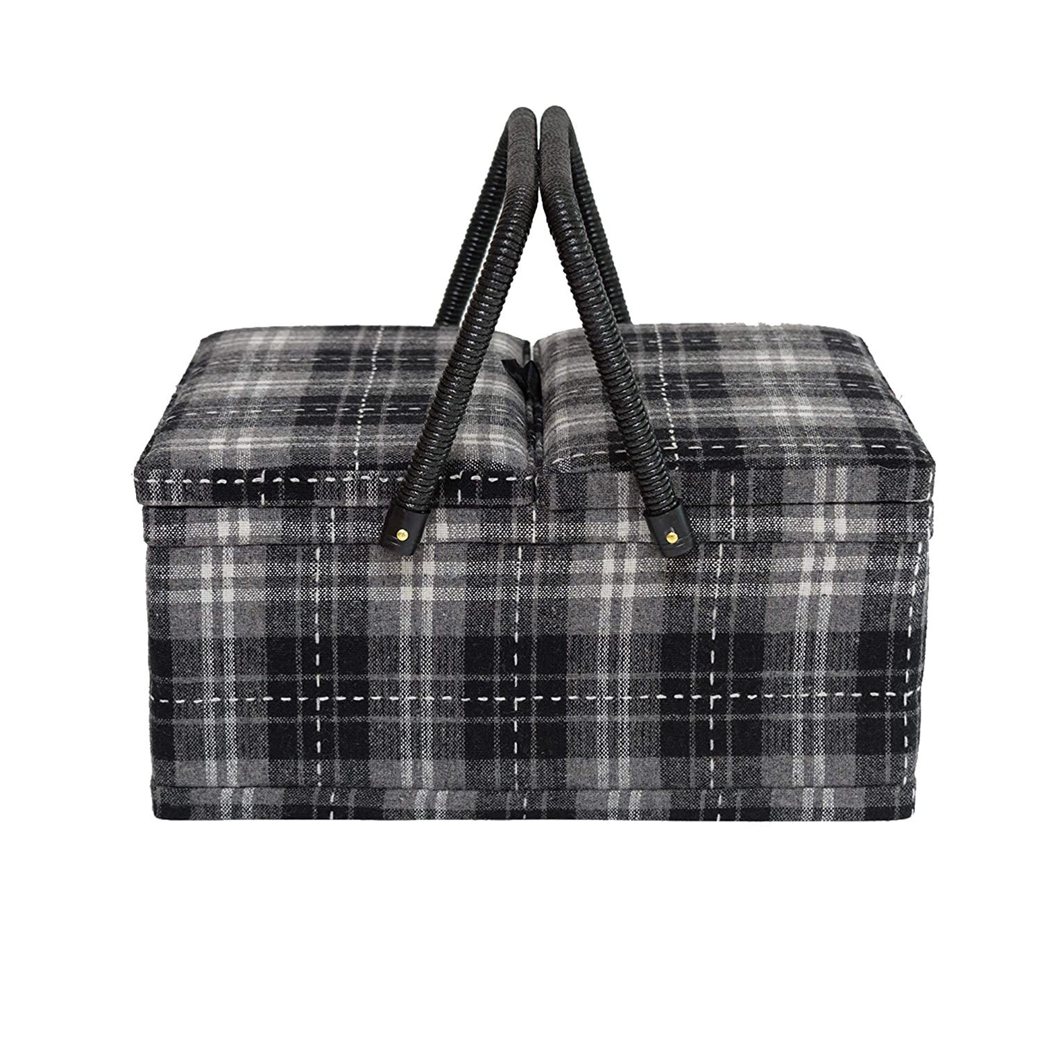 Korbond Hamilton Tartan Twin Lid Sewing Basket, Grey, One Size