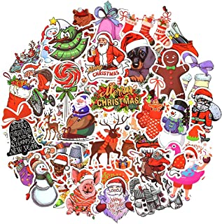Waterproof Vinyl Stickers for Scrapbooking Laptop Party Favors (50 Pcs Christmas Style)