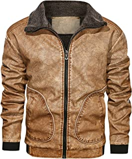 Men's Black Brown Lapel Thick Warm PU Faux Leather Zip-Up Jacket