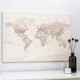 Mappa del Mondo Sughero - Stampa su Tela - Quadro Mondo Con Puntine - Decorazioni Pareti - Colore Sabbia del Deserto - 3 D...