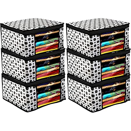 Kuber Industries Polka Dots Design 6 Piece Non Woven Fabric Saree Cover/ Clothes Organiser For Wardrobe Set with Transparent Window, Extra Large,(Black & White) -CTKTC038096