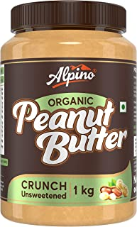 Alpino Organic Natural Peanut Butter Crunch 1 KG | Unsweetened | Made with 100% Roasted Organic Peanuts | 30% Protein | No...