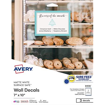 Amazon Com Avery Printable Blank Rectangle Labels 7 X 10 Matte White Removable 3 Customizable Labels 61516 Office Products