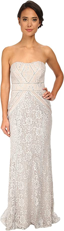 Strapless Metallic Lace Runway Gown