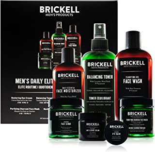 Brickell Men's Daily Elite Face Care Routine I, Toner, Gel Facial Wash, Face Scrub, Anti-Aging Night Cream, Eye Cream, Cha...