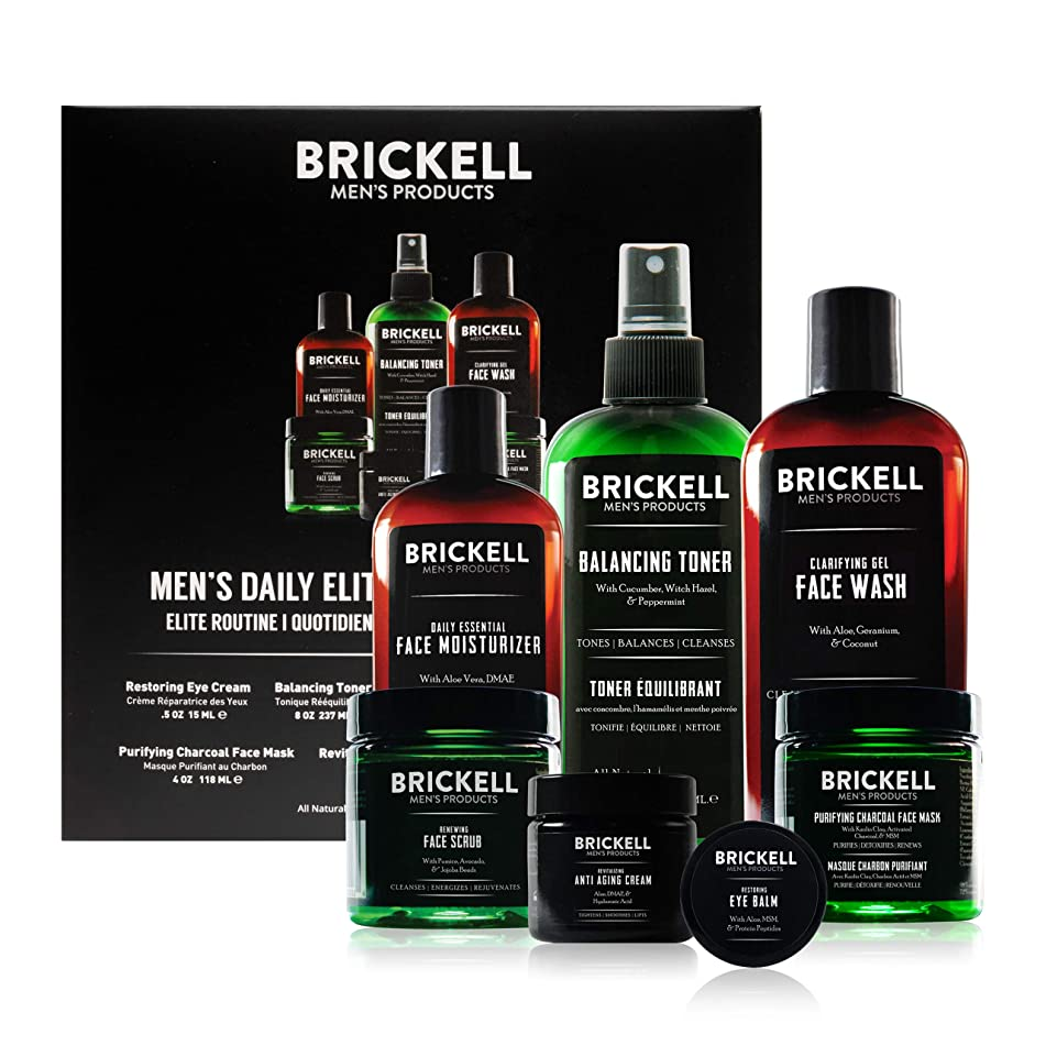 Brickell Men's Products Daily Elite Face Care Routine I - Toner, Gel Facial Wash, Face Scrub, Anti-Aging Night Cream, Eye Cream, Charcoal Mask & Moisturizer - Natural & Organic - Unscented