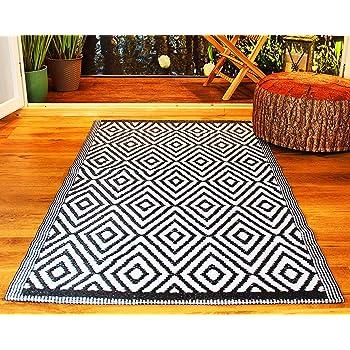 Kamaca Outdoor - Alfombra de entramado para terraza, balcón, camping, jardín, poliéster, Negro , Teppich 45 cm x 75 cm: Amazon.es: Hogar