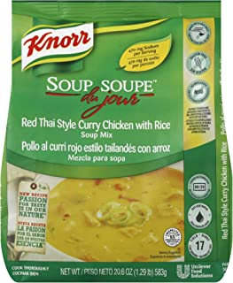 Knorr Professional Soup du Jour Red Thai Style Curry Chicken with Rice Soup Mix Gluten Free, No added MSG, 0g Trans Fat per Serving, Just Add Water, 20.6 oz, Pack of 4
