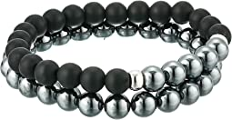 Matte Black Agate and Hematite Set Of 2 Beaded Bracelets