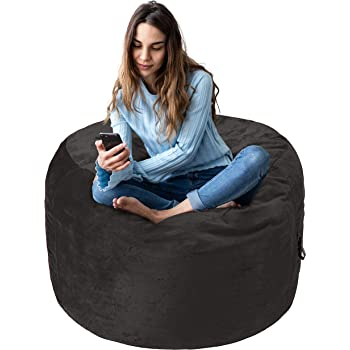 Amazon Basics Memory Foam Filled Bean Bag Chair with Microfiber Cover - 3', Gray