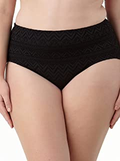 Womens Solid Crochet Lace Brief Swimsuit Bottom