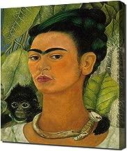 Lilarama Frida Kahlo - Self Portrait with A Monkey Framed Canvas Art Print Reproduction