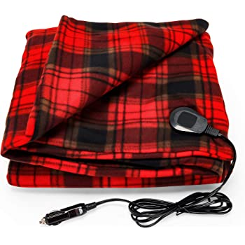 "Camco Polar Fleece Heated Blanket for Cars, Trucks, and RVs - Power Cord Plugs into 12V Vehicle Power Outlet | Great for Cold Weather, Traveling, or Emergencies - Plaid Red (42804), 59"" x 43"""