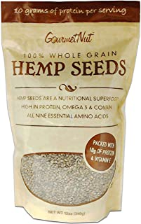 Hemp Seeds, 100% Whole Grain, 12 Oz Resealable Bag, High Protein & Amino Acids (10 grams of Protein per serving), Gourmet ...