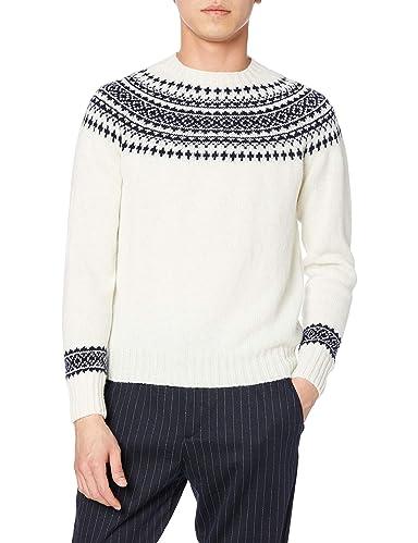 Yoke Pattern Crewneck Sweater M3170: White / New Navy