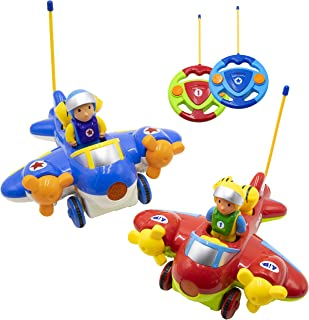 Hautton RC Cartoon Toy Race Car, 2 Pcs 2-Channel Remote Control Airplane Electric Radio Toy Vehicle with Removable Pilot, Music and Lights, Educational Learning Toys for Toddlers, Baby, Kids, Children