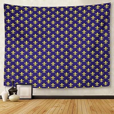 Berrykey Tapestry Blue Monarch Fleur De lis Pattern Marina Estantería Home Decor Wall Hanging for Living Room Bedroom Dormisette 50x 60Inches
