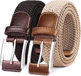 """Belt for Men 2Units,Woven Stretch Braided Belt Gift-boxed Golf Casual Pants Jeans Belts,Width 1 3/8"""""""