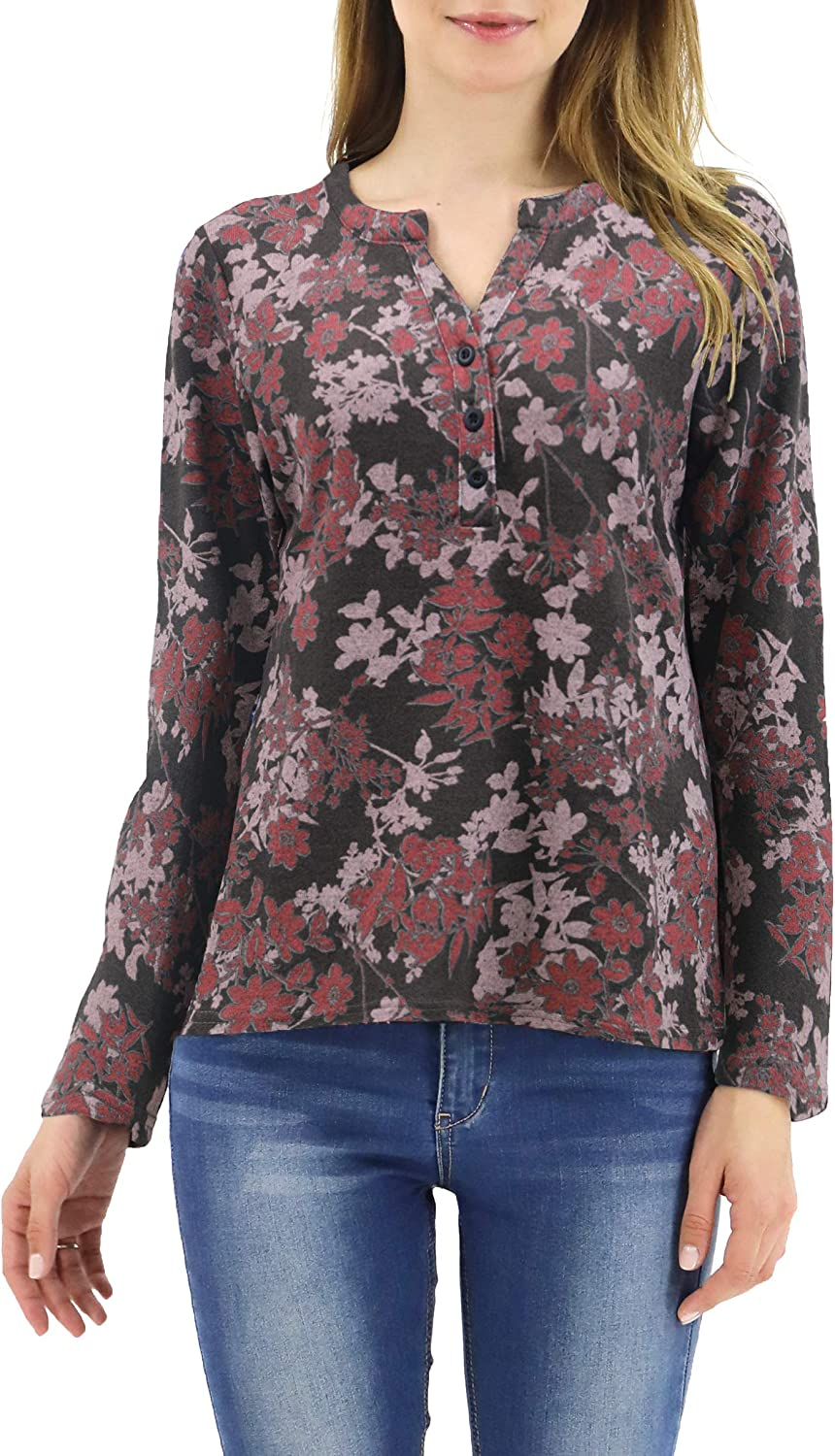 LuluBerry Women's V-Neck Floral Print Button Up Blouse