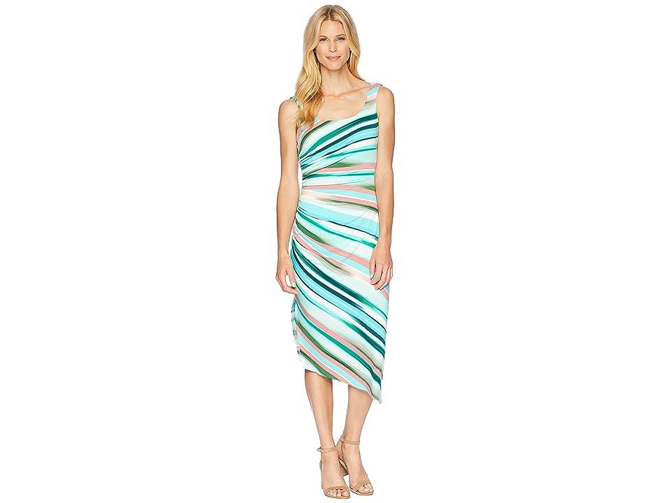 London Times Side Drape Shirring Slit Dress (Teal Multi) Women
